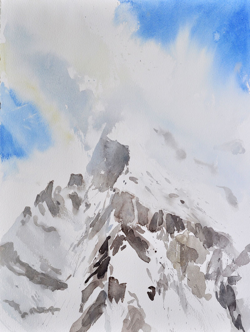 Madrisa im Nebel, 2013, Aquarell 40 x 30 cm