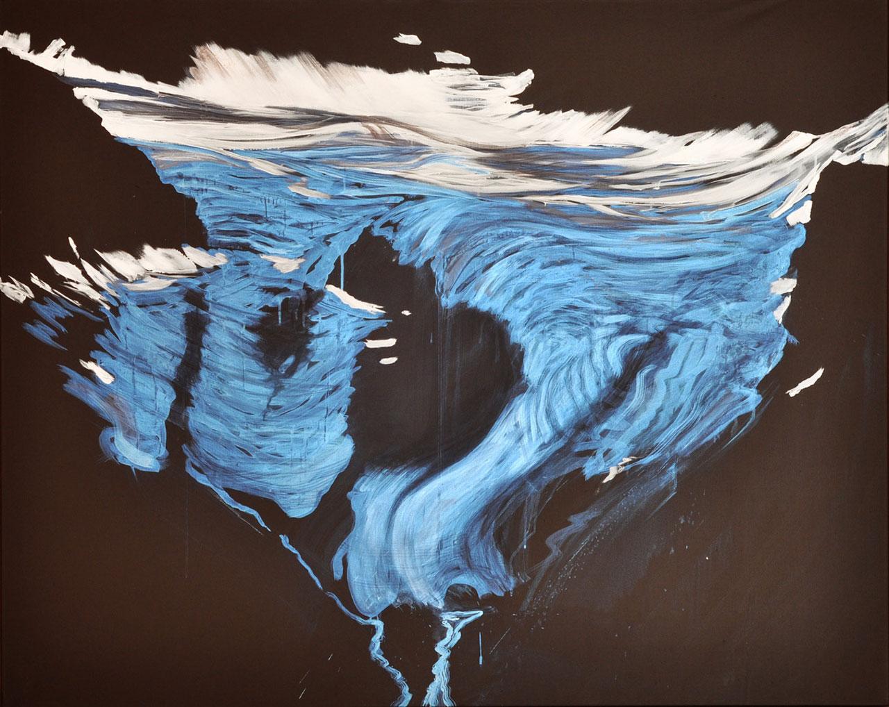 Ochsentalere Gletscher (irisierend) 2012, Acryl/LW, 120 x 150 cm