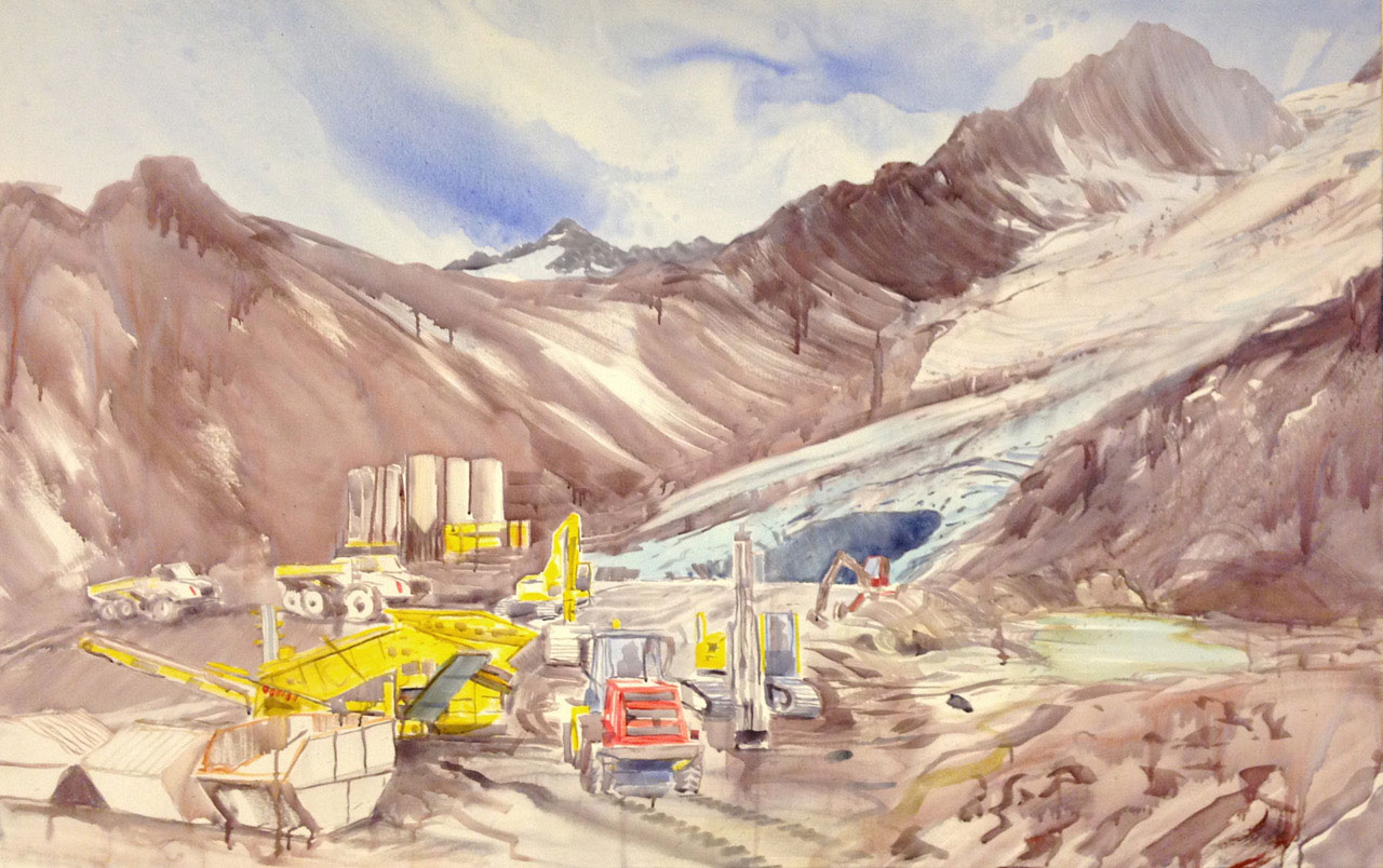 Gletscherbaustelle, 2012,  Acryl/LW, 100 x 160 cm